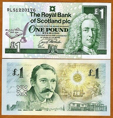 Scotland Royal Bank  1 Pound  1994  P 358  Unc   Commemorative  Robert Stevenson