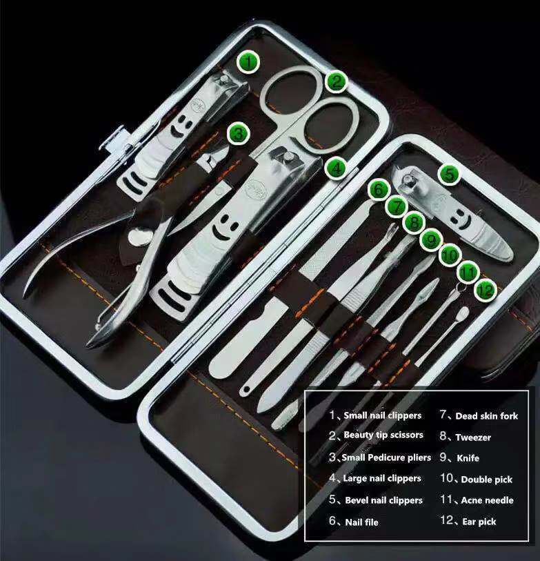 12PCS Pedicure  Manicure Set Nail Clippers Cleaner Cuticle Grooming Kit Case