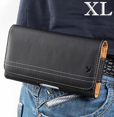 (for LG G7 ThinQ - Black Horizontal Leather Belt Clip Pouch Holster Case Cover)