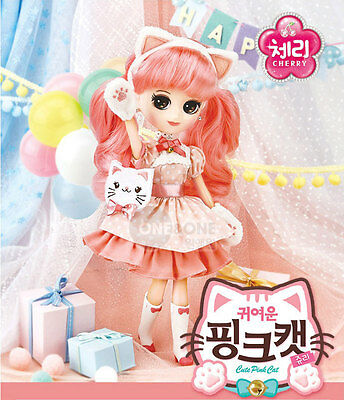 One & One Oh My School Girl Cherry Pink Cat Doll Baby Kid Korean Charcater Gift