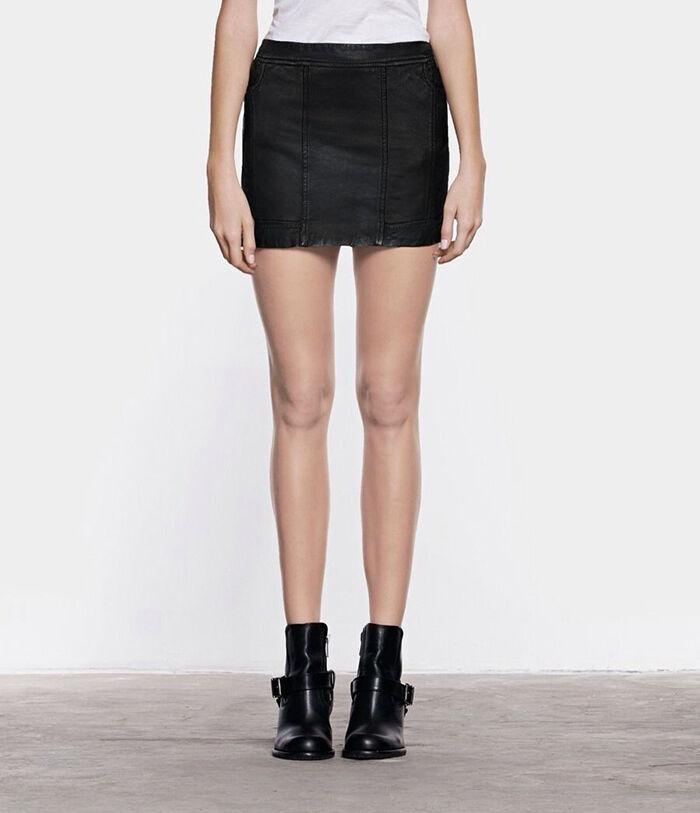 All Saints Leather Biker Miniskirt