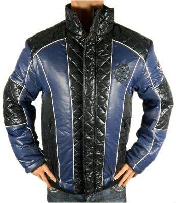 Ed Hardy By Christian Audigier Men's Premium Puffer Hot Nylon Jacket Blue ()