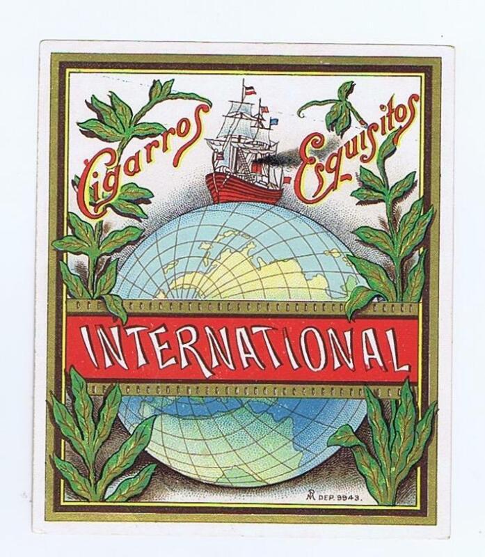 International  original outer cigar box label  globe ship