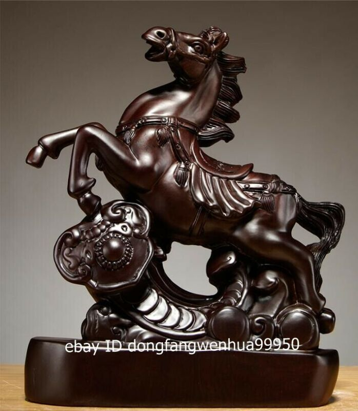 Chinese Black Rosewood Wood auspicious Feng Shui Animal Steed horse sculpture