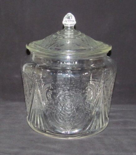 Hazel Atlas Glass Co. ROYAL LACE Crystal Cookie Jar with Cover