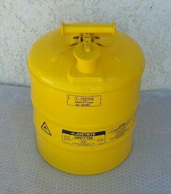 Justrite Safety Can 5 Gallon Yellow Diesel Fuel Type I Underwriters Laboratories