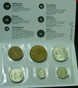1961 Australian Pre Decimal Coin Set in folder, nice gift!