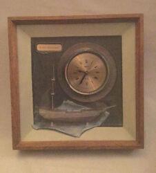 Large Nautical USS Constitution Spartus Quartz Clock in Shadow Box Wall Hanger