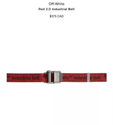 New Authentic OFF-WHITE Industrial Belt 2.0 Red One Size NWT Deadstock DS