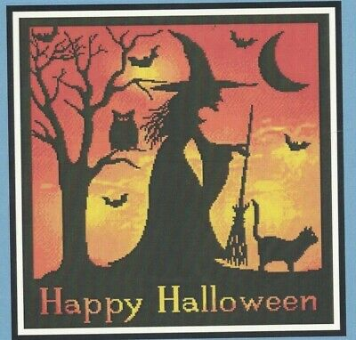 HALLOWEEN WITCH SILHOUETTE--Owl--Cat--Moon--Broom--Counted Cross Stitch - Halloween Witch Silhouette