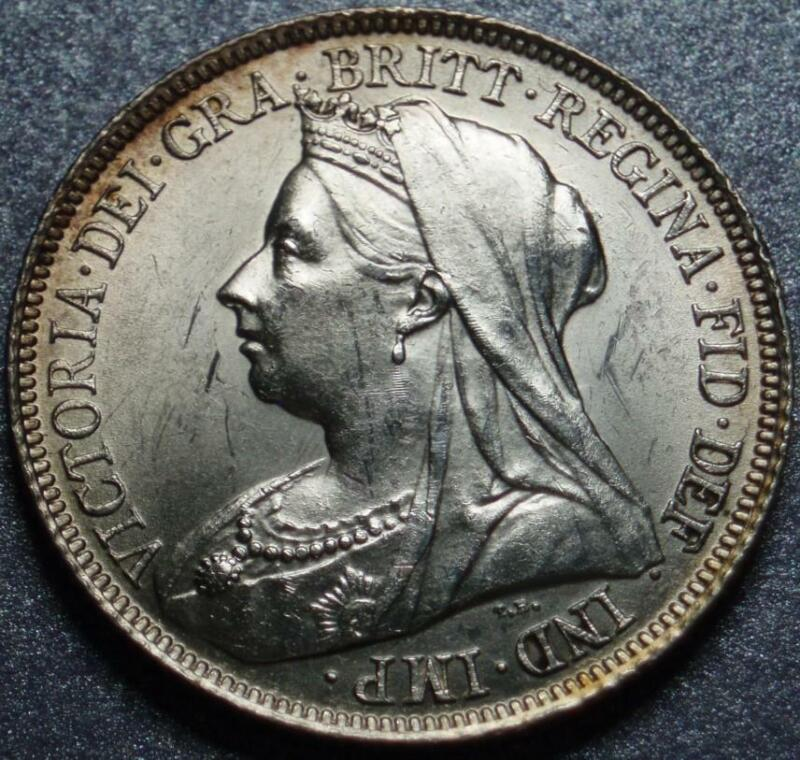 1898 GREAT BRITAIN >Lustrous VEILED HEAD Queen Victoria STERLING Silver SHILLING