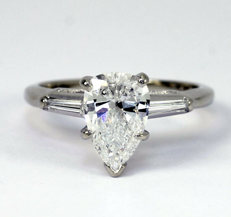 Diamond Engagement Ring 14k White Gold 1.20c Pear Brilliant Baguette 1.40ctw Sz4