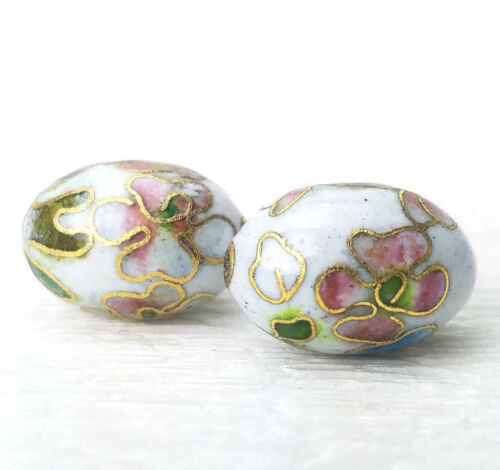 Vintage White w/ Pink Blue Flowers Cloisonne Chinese Enamel Oval 18x12mm  2PCs