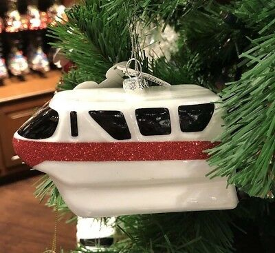 Monorail Blown Glass Ornament Red Disney Theme Parks NEW