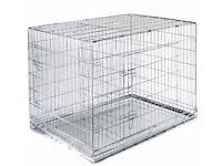 BNIB medium double door dog crate with metal tray