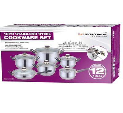 12pc Stainless Steel Sauce pans Pots Pans Set Cookware Cooking Kitchen Equipment