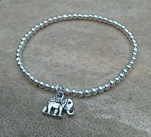 Silver Ball Beaded Lucky Elephant Surfer Stretch Bracelet, HANDMADE