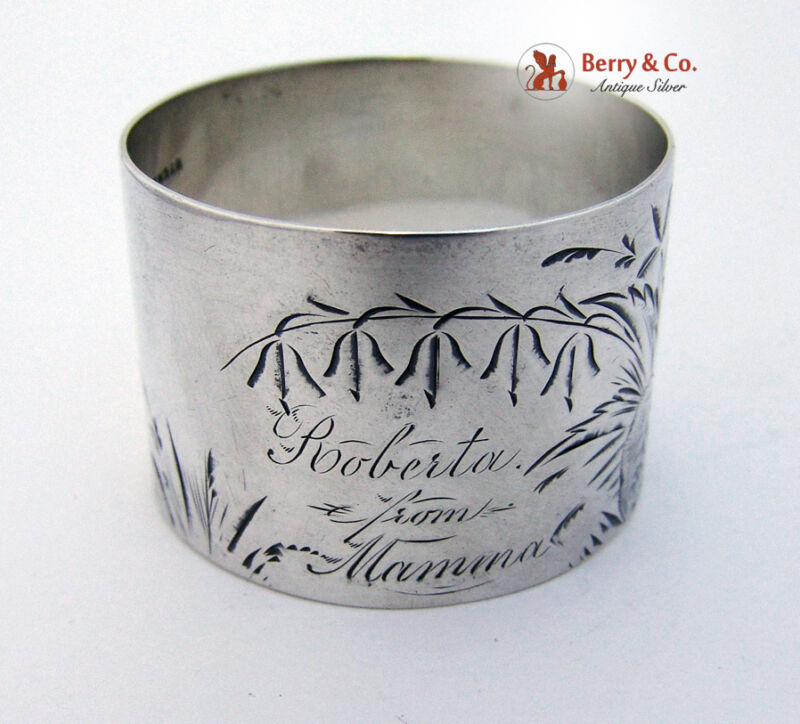 Engraved Bright Cut Foliate Napkin Ring Sterling Silver 1875 Roberta from Mamma