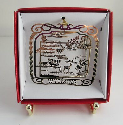 Wyoming State Brass Ornament Souvenir Travel Keepsake Gift