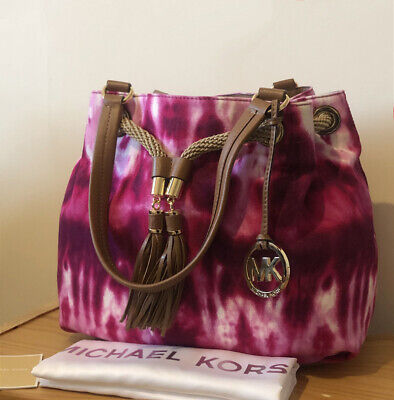 Michael Kors Marina Fuchsia Tie-dye Canvas Large Gathered Tote Bag