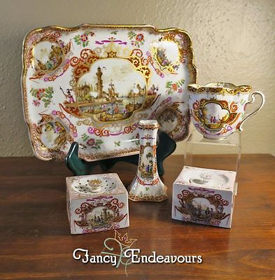 Augustus Rex Meissen Style Ink Well  Sander Bud Vase Tea Cup Tray Desk Set