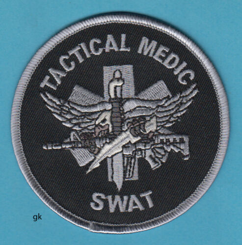 SWAT TACTICAL MEDIC POLICE SHOULDER PATCH  (Subdued -Black)