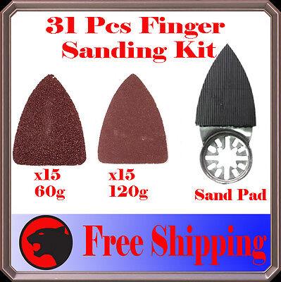 31 Finger Sanding Kit Oscillating Multi Tool Sand Pad Genesis Performax Dremel