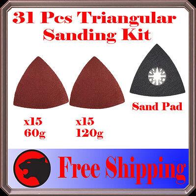 31 Pcs Triangular Sanding Kit Oscillating Multi Tool Pad Performax Ridgid Jobmax
