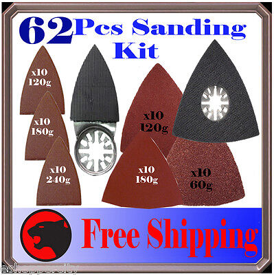 62 Pc Sanding Kit Oscillating Multi Tool Sand Pad For Milwaukee Fein Multimaster