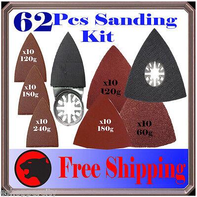 62 Pc Sanding Kit Oscillating Multi Tool Sand Pad For Dremel Bosch Ryobi Makita