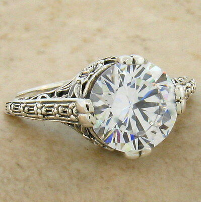 WEDDING ENGAGEMENT .925 STERLING SILVER ANTIQUE STYLE CZ RING SIZE 7.75,    #123