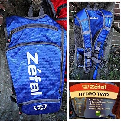 2fbebfd5120 Zefal Hydro Two Liter Blue Hydration Backpack w Tablet Storage Zippered  Pockets
