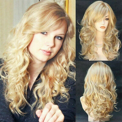 Gold Blonde Wigs Women Full Long Curly Wavy Hair Wig Fashion Lady Cosplay Party - Curly Blond Wig