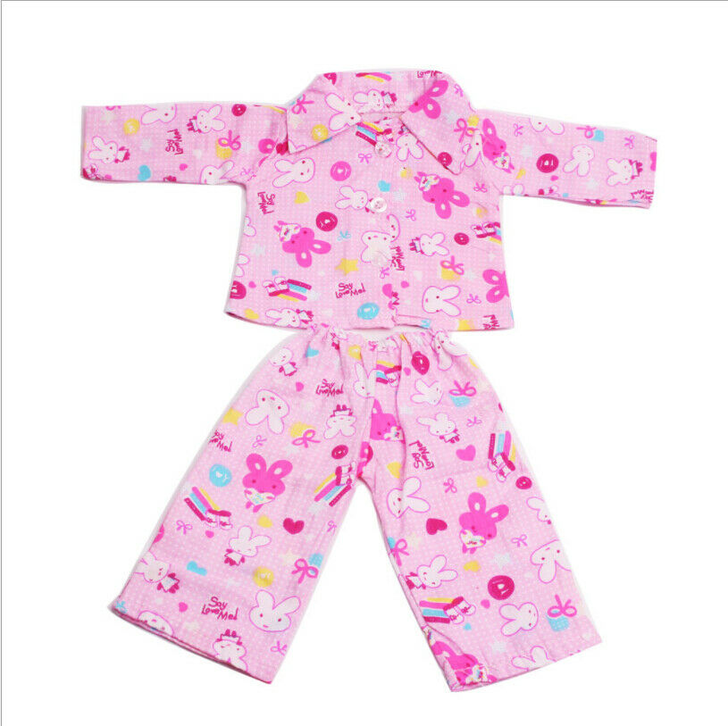 US Stock Doll Clothes Dress Outfits Pajames For 18 inch Xmas Gift Dress Shoes D04 Pink pajamas