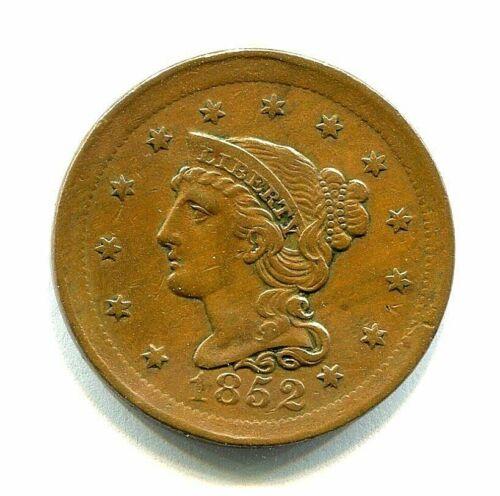 1852 BRAIDED HAIR COPPER LARGE CENT mint error BROADSTRUCK nice
