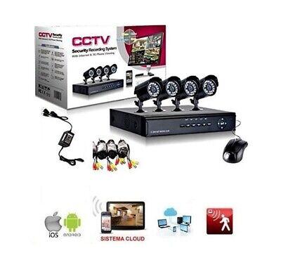 Kit Videosorveglianza CCTV 4 Canali Telecamera Infrarossi Dvr esterno interno