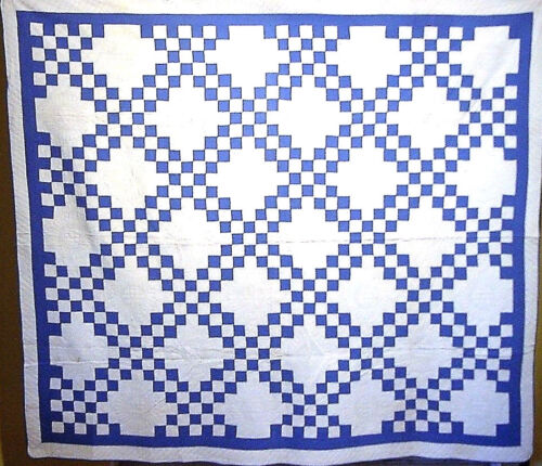 CLASSIC BLUE AND WHITE IRISH CHAIN HAND PIECED  HAND QUILTED