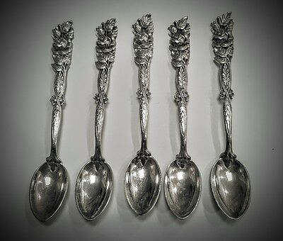 5 Mocha or Coffee Spoons 800 Solid Silver, German Hildesheim Rose Heavy & Ornate
