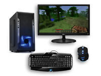 Gaming PC Blue Bundle 1080p Monitor LED PC Computer Intel Quad Core Nvidia GTX Graphics Win 10