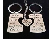 New Engraved Necklace and Keyring Set FOR DADDY, MOTHER AND DAUGHTER.