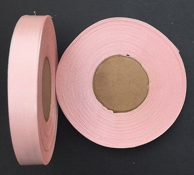 30m of VINTAGE French Pale Pink Crosgrain Ribbon 1.4cm wide