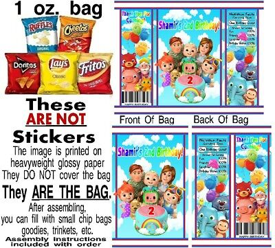 12 Cocomelon Birthday Party Chip Bags Gift Favor Treat Candy