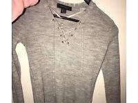 Grey plain long sleeved top