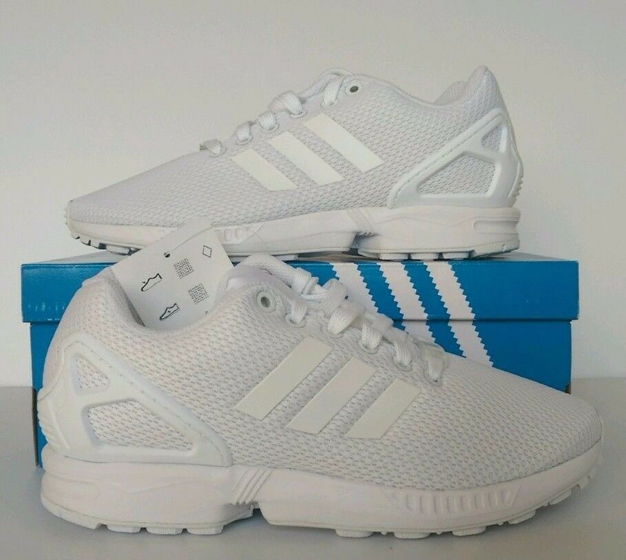 Brand New in box Adidas Originals ZX Flux White/White/White Unisex Trainers Size 9.5