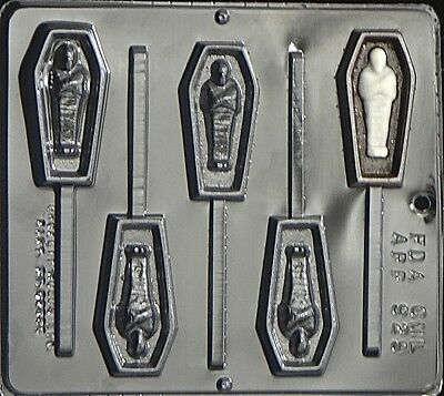 NEW 5 Cavity Halloween COFFIN MUMMY Chocolate Candy Fondant Plaster Lolly Mold (Halloween Mummy Coffin)