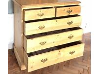 PINE TWO OVER THREE CHEST OF DRAWERS