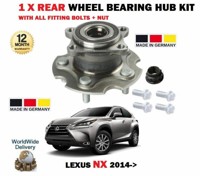 FOR LEXUS NX 200T 2.0 300H 2.5 HYBRID 2014-> 1 X REAR WHEEL BEARING HUB KIT