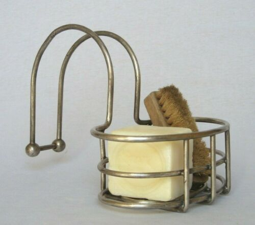 Vintage French Chrome Plated Soap Holder Dish for Over Edge Bath Claw Foot Tub