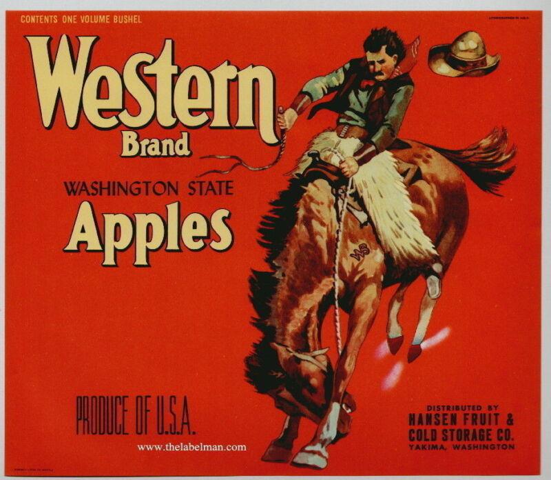 WESTERN Vintage Apple Crate Label(R) *An Original Fruit Crate Label*, cowboy