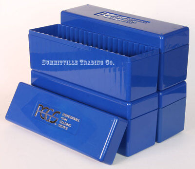 LOT OF 4 PCGS ORIGINAL BLUE STORAGE BOXES - EACH HOLDS 20 GRADED SLABBED COINS